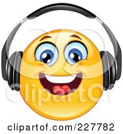 Royalty Free RF Clipart Illustration Of A Yellow Smiley Face Wearing Head Phones And Smiling