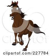 Royalty Free RF Clipart Illustration Of A Scared Brown Horse Running
