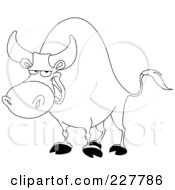 Royalty Free RF Clipart Illustration Of A Coloring Page Outline Of A Bull by yayayoyo
