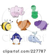 Royalty Free RF Clipart Illustration Of A Digital Collage Of Cute Doodled Animals by yayayoyo