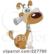 Royalty Free RF Clipart Illustration Of A Happy Dog Fetching A Newspaper