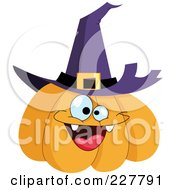 Royalty Free RF Clipart Illustration Of A Happy Halloween Jackolantern Wearing A Witch Hat by yayayoyo
