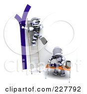 Royalty Free RF Clipart Illustration Of 3d Robots Painting A Wall Blue