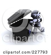 Royalty Free RF Clipart Illustration Of A 3d Robot Opening A Tool Box by KJ Pargeter
