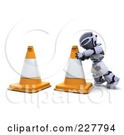 Royalty Free RF Clipart Illustration Of A 3d Robot Moving Construction Cones