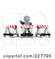 Royalty Free RF Clipart Illustration Of A 3d Robot Behind Construction Barriers by KJ Pargeter