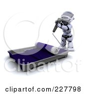 Royalty Free RF Clipart Illustration Of A 3d Robot Using A Paint Roller And Rolling It In A Pan