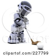 Royalty Free RF Clipart Illustration Of A 3d Robot Golfing 5