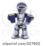 Royalty Free RF Clipart Illustration Of A 3d Robot Carrying Movie Popcorn And A Soda