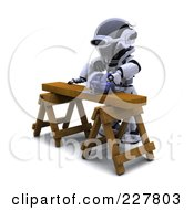 Royalty Free RF Clipart Illustration Of A 3d Robot Sawing