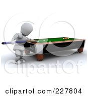 Royalty Free RF Clipart Illustration Of A 3d White Character Playing Billiards by KJ Pargeter