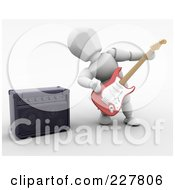 Royalty Free RF Clipart Illustration Of A 3d White Character Playing An Electric Guitar by KJ Pargeter
