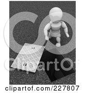 3d White Character Looking Down A Drainage Opening