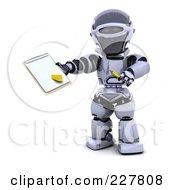 Royalty Free RF Clipart Illustration Of A 3d Robot Holding A Document On A Clipboard by KJ Pargeter