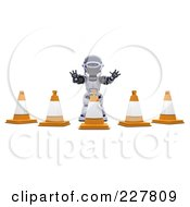 Royalty Free RF Clipart Illustration Of A 3d Robot Behind Construction Cones
