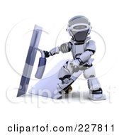 Royalty Free RF Clipart Illustration Of A 3d Robot Using Trowels