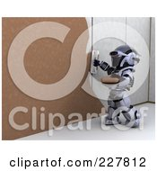 Royalty Free RF Clipart Illustration Of A 3d Robot Plastering Over Drywall by KJ Pargeter