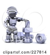 Royalty Free RF Clipart Illustration Of A 3d Robot With Nuts And Bolts