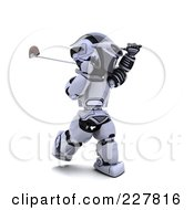 Royalty Free RF Clipart Illustration Of A 3d Robot Golfing 3