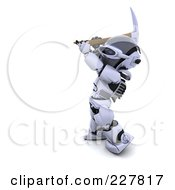 Royalty Free RF Clipart Illustration Of A 3d Robot Using A Pickaxe