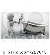 Royalty Free RF Clipart Illustration Of A 3d White Character Fixing A Tubs Pipes by KJ Pargeter
