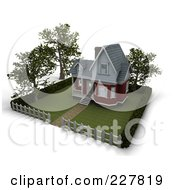 Royalty Free RF Clipart Illustration Of A 3d Victorian Styled Home With Trees Lawn And A Picket Fence by KJ Pargeter