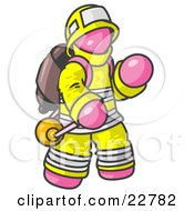 Clipart Illustration Of A Pink Fireman In A Uniform Fighting A Fire