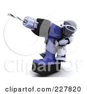 Royalty Free RF Clipart Illustration Of A 3d Robot Using A Giant Power Drill