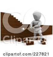 Royalty Free RF Clipart Illustration Of A 3d White Character Knocking Down A Brick Wall 2 by KJ Pargeter