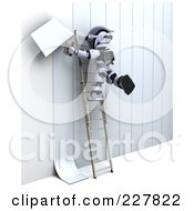 Royalty Free RF Clipart Illustration Of A 3d Robot Applying Wallpaper