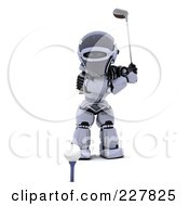 Royalty Free RF Clipart Illustration Of A 3d Robot Golfing 2