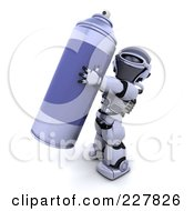 Royalty Free RF Clipart Illustration Of A 3d Robot Carrying A Spray Can