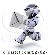 Royalty Free RF Clipart Illustration Of A 3d Robot Running With An Envelope by KJ Pargeter