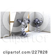 Royalty Free RF Clipart Illustration Of 3d Robots Hanging Dry Wall by KJ Pargeter