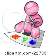 Clipart Illustration Of A Pink Man Holding A Pair Of Scissors And Sitting On A Large Poster Board With Colorful Shapes