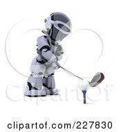 Royalty Free RF Clipart Illustration Of A 3d Robot Golfing 1