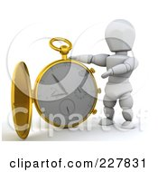 Royalty Free RF Clipart Illustration Of A 3d White Character With A Giant Pocket Watch