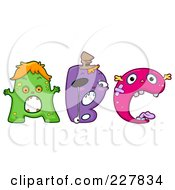 Royalty Free RF Clipart Illustration Of A Digital Collage Of Monster Letters A Through C by BNP Design Studio