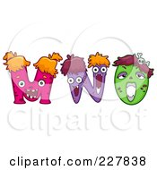 Royalty Free RF Clipart Illustration Of A Digital Collage Of Monster Letters M Through O