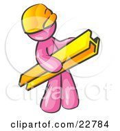 Clipart Illustration Of A Pink Man Construction Worker Wearing A Hardhat And Carrying A Beam At A Work Site