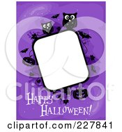 Happy Halloween Greeting Under A Frame Of Pumpkins Bats And Owls On Purple