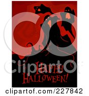 Royalty Free RF Clipart Illustration Of A Happy Halloween Greeting Under Spooky Ghosts On Red by BNP Design Studio