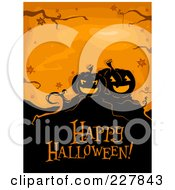 Royalty Free RF Clipart Illustration Of A Happy Halloween Greeting Under Spooky Jackolanterns On Orange by BNP Design Studio