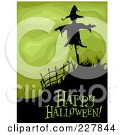 Royalty Free RF Clipart Illustration Of A Happy Halloween Greeting Under A Spooky Scarecrow On A Hill Over Green by BNP Design Studio