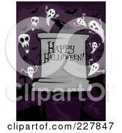 Royalty Free RF Clipart Illustration Of A Happy Halloween Greeting On A Tombstone With Ghosts In A Cemetery On Purple by BNP Design Studio