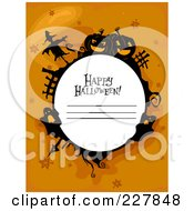 Royalty Free RF Clipart Illustration Of A Happy Halloween Greeting With Copyspace Bordered With A Scarecrow Ghosts And Pumpkins On Orange by BNP Design Studio