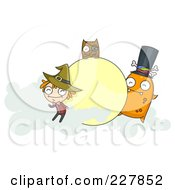 Royalty Free RF Clipart Illustration Of A Halloween Witch Owl And Monster With Clouds Around A Moon Frame