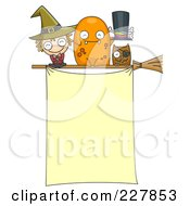 Royalty Free RF Clipart Illustration Of A Witch Monster And Owl On A Broomstick Above A Halloween Sign