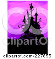 Royalty Free RF Clipart Illustration Of A Silhouetted Haunted Castle On A Hill Over Purple