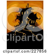 Royalty Free RF Clipart Illustration Of A Haunted House On A Hill Over Orange by BNP Design Studio